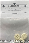 ULTRACAST 1/48 Focke-Wulf 190 Spoked Wheels, 700 x 175 (treaded tires)