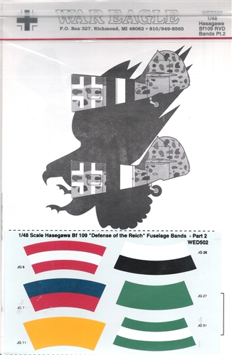 WAR EAGLE 1/48 HASEGAWA BF 109 DEFENSE OF THE REICH FUSELAGE BANDS PART 2