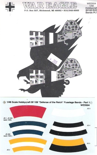 WAR EAGLE 1/48 HOBBYCRAFT BF 109 DEFENSE OF THE REICH FUSELAGE BANDS PART 1