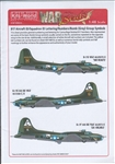 WARBIRDS DECALS 1/48 B17 ID Sq. & ID Lettering, Numbers, Bomb (Grey) Group Symbols for Camouflage Finish