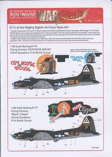 Neu Kits World 148037-1:48 B-17F//G Flying Fortress Decalset